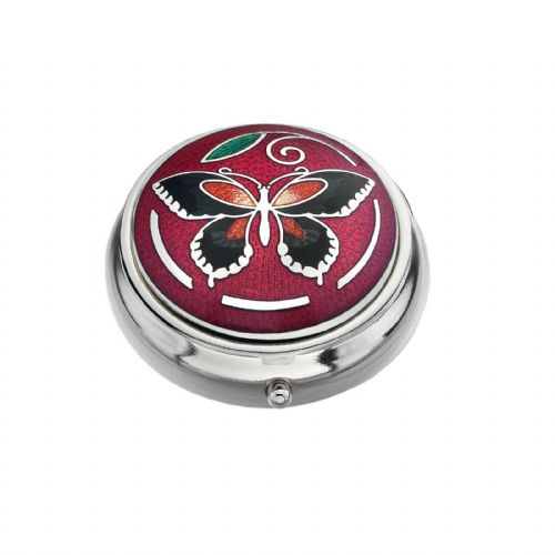 Pill Box Silver Plated Butterfly and Leaf Design Red Brand New and Boxed